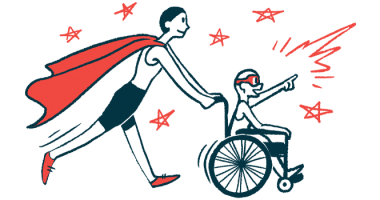 rare disease clinical trial participants | Huntington's Disease News | Illustration of woman in cape pushing child in wheelchair