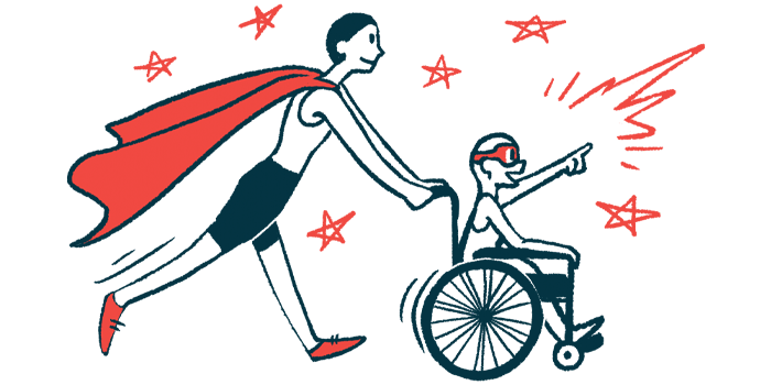 rare disease clinical trial participants   Huntington's Disease News   Illustration of woman in cape pushing child in wheelchair